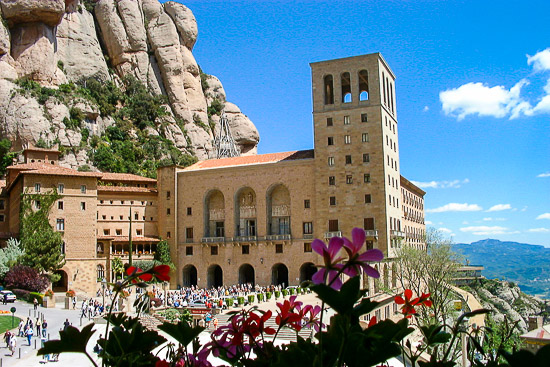 Montserrat Atrium and Basilica from afar