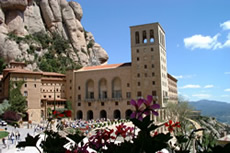 A view of Montserrat basilica from afar